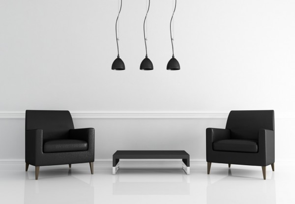 two black leather armchair in a white living room - rendering